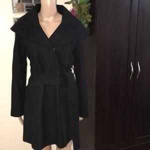 Big Collar Pea Coat w/Snap Closure/Belt